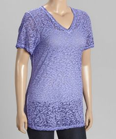 Look what I found on #zulily! Purple Burnout V-Neck Tee - Plus #zulilyfinds