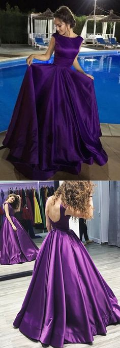 #Satin Simple Chic A-Line Bateau Regency #Longpromdress Evening Dress #Purple #Gownsprom