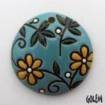 Round, flowers on bright blue