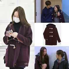 """160101 Krystal - Gimpo Airport back from Beijing. Krystal is wearing Lacoste Live Duffle Coat, it's the same coat from The Heirs drama  cr noviewistrue…"""