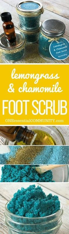 "This homemade foot scrub has extra ""oomph"" to get dry, cracked heels and tough soles sandal ready.  And it smells amazing!! made with lemongrass, chamomile, and lavender essential oils."