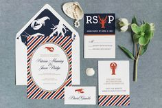 Lobster bake wedding invitation suite | Eileen Meny Photography