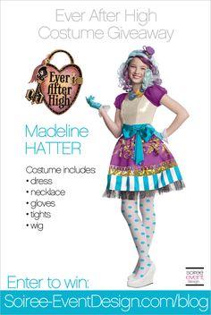 Giveaway: Ever After High Madeline Hatter Costume Enter on Soiree-EventDesign.com
