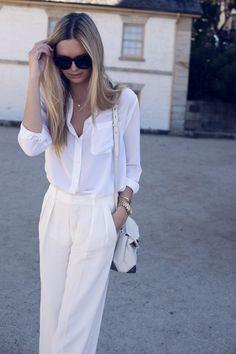 white blouse, cream pants