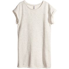 H&M Sweatshirt dress (56 BRL) ❤ liked on Polyvore featuring dresses, tops, shirts, t-shirts, natural white, white short sleeve dress, short dresses, white sweatshirt dress, white cotton dress and short sleeve dress