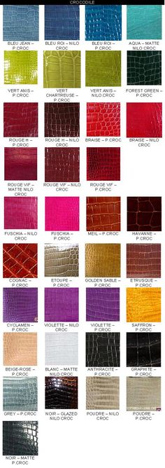 Reference: Sample of Colour Chart..... - PurseForum