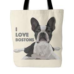 "Boston Terrier Tote Bag ""I Love Bostons"""