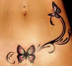 Sexy Tattoo Idea for Girls - Butterfly Hip Tattoo by Rain #tattoo #tattoosforgirls #cutetattoo