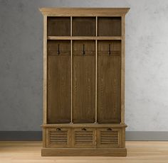 RH's Shutter Entry Locker:Our thoughtfully designed unit bestows order in the most chaotic mudroom or entryway. Entry Lockers, Wood Lockers, Furniture Projects, Furniture Decor, Wood Shelves, Shelving, Weathered Oak, Restoration Hardware, Shutters