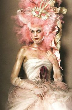 Tres' Amusant. Pink pouf and gold Marie Antoinette editorial.  Fab!