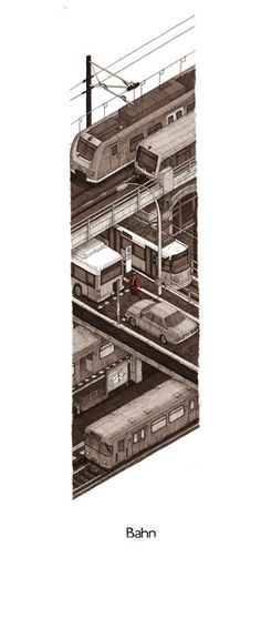 Bahn Art Print - Another selection of incredible illustration art from Evan Wakelin. Check it out.