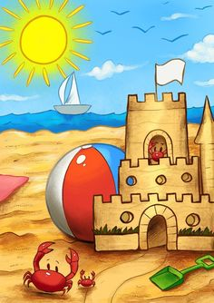 This item is unavailable Cartoon Drawing For Kids, Scenery Drawing For Kids, Art Drawings For Kids, Pencil Art Drawings, Cartoon Drawings, Easy Drawings, Art For Kids, Castle Drawing Easy, Beach Cartoon
