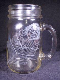 2 Peacock Hand Engraved Toasting Glass Mason Jars by KittyPiston, $20.00