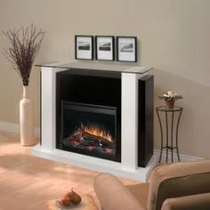 """Dimplex Bella 26"""" Black and White Electric Fireplace - EMP6856GB - Fireplaces & Accessories - Decor"""