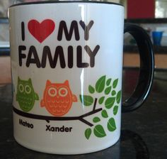 Personalized Owl Family Coffee Mug. $12.00, via Etsy.