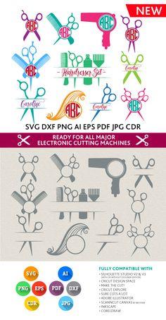 Hair Hairdresser Svg Barber Hairstylist Monogram Frame Cut Files - SVG DXF Silhouette Studio Png Eps Pdf Jpg Ai Cdr  Cricut, Cameo