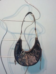 VINTAGE GUESS LEATHER SMALL BAG PURSE BUTTERFLY PRINT HIPPIE TYPE BEADS SHINGLES #GUESS #Hobo