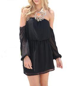 Wisteria Lane Off the Shoulder Dress - Black - $45.00 | Daily Chic Dresses | International Shipping Birthday dress