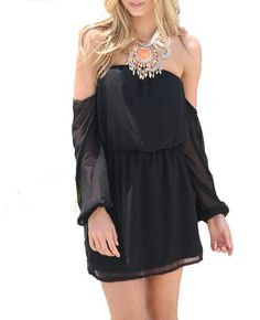 Wisteria Lane Off the Shoulder Dress - Black - $45.00 | Daily Chic Dresses | International Shipping