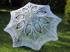 Crochet Umbrella White Wedding Made to Order by AtelierJoanny