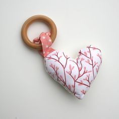 Wooden Teething Rings | Organic Coral Heart on Organic Wood TEETHING ring - Organic Cotton ...