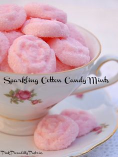 Sparkling Cotton Candy Mints - Pink Piccadilly Pastries - Elsewhere in her blog, she mentions she now uses Duncan Hines Cotton Candy Frosting Mix-ins instead of the Loran flavored oil - it has a more true cotton candy flavor.