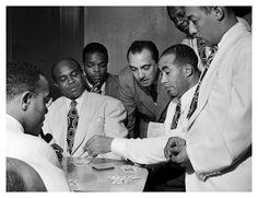 Al Sears, Shelton Hemphill, Junior Raglin, Django Reinhardt, Lawrence Brown, Harry Carney, and Johnny Hodges, Aquarium, New York, 1946,