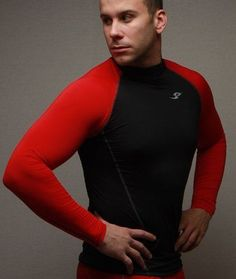 New 052 Take Five Mens Compression Base Layer Red+Black Long Sleeve Shirt #TakeFive #BaseLayers #ebay #sportswear #running #longsleeve #black #red #korea #health #riding