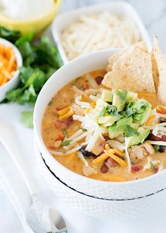 Creamy Chicken Tortilla Soup Recipe Soups with olive oil, chicken breasts, taco… Mexican Food Recipes, Soup Recipes, Dinner Recipes, Cooking Recipes, Ethnic Recipes, Milk Recipes, Cooking Tips, Recipies, Party Recipes
