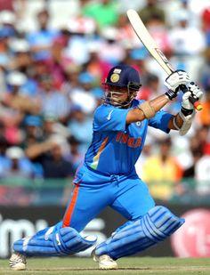 Sachin Tendulkar on his way to scoring 85 against Pakistan in World Cup 2011 semi finals. Icc Cricket, Cricket Bat, Cricket Sport, Test Cricket, 2011 Cricket World Cup, India Cricket Team, History Of Cricket, Cricket Coaching, India Win
