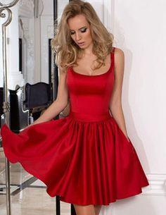 Short A line Red Satin Homecoming Dress 1ddde7942