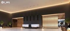 Painéis ripados iluminados e a grandiosidade do pé direito duplo enobrecem o Lobby Concierge - Projeto All Aclimação.