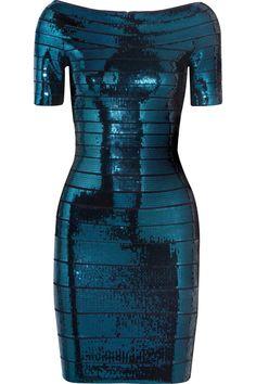 Hervé Léger|Sequined bandage dress|NET-A-PORTER.COM