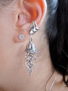Hey, I found this really awesome Etsy listing at https://www.etsy.com/listing/115939184/jellyfish-earring-silver-jellyfish-ear