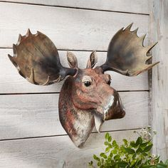 Moose Head Bust Wall Hanging - A Black Forest Decor Exclusive - the magnificent cast polyresin moose head features lifelike detail to make a statement on your lodge wall. Moose Head, Moose Art, Wall Hanging Designs, Black Forest Decor, Country Chic, Pillow Covers, Sculptures, Blue And White