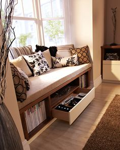 Idea for front room window seat for shelves and books Fab spot for reading and keeping things tidy. (Custom-built storage solution by Neville Johnson,) Window Benches, Window Seats, Bay Window Seating, Ideas Hogar, Deco Design, My New Room, Home And Living, Living Spaces, Living Rooms