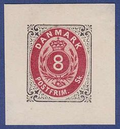 """Denmark 1870, die proof of 8 skilling in black/red on paper without wmk. and gum. Small """"8"""" not yet engraved. B&N No. 23-WDP(1a). AFA No. P19A. Poss..."""