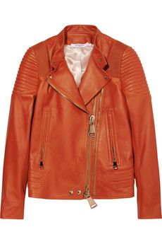 Givenchy Biker jacket with ribbed panels in brick leather   NET-A-PORTER