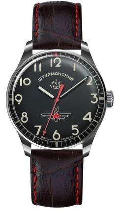 Sturmanskie Gagarin Commemorative Limited Edition Black Russian Mechanical Men's Watch 2609/3705125. Numbered Limited Edition (1,000) made, all Cyrillic lettering, custom medallion caseback. Poljot 2609 17 jewel mechanical, 21,600 VPH. Mean daily rate from -10 to +20 s/day, 42 hour power reserve.
