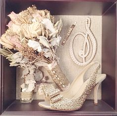 Shadow Box With Trinkets From Wedding Hankie Rose Sparkly Shoe Cake Topper