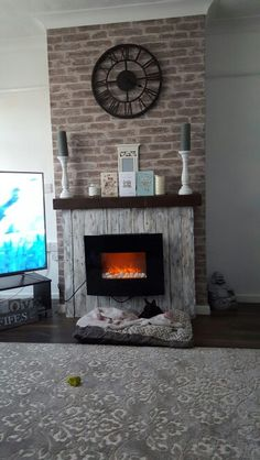 Grey Stone Fireplace Decor