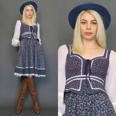 vintage 70s blue floral Gunne Sax lace up bust // prairie dress // summer dress // size 9 by gypsiesrisingvintage on Etsy https://www.etsy.com/listing/226463909/vintage-70s-blue-floral-gunne-sax-lace