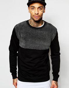 Image 1 ofASOS Sweatshirt With Cut & Sew Panel