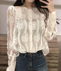 Womens Fashion Off Shoulder Chic Casual Lace Tops New Embroidery Flowers Blouses Ny Fashion Week, Look Fashion, Girl Fashion, Fashion Outfits, Womens Fashion, Fashion Boots, Paris Chic, Mode Chic, Lace Embroidery