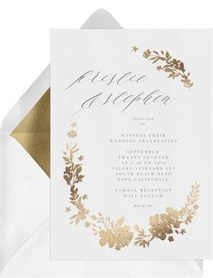 Golden Floral Wreath Invitation in White Elegant Wedding Invitations, Wedding Invitation Cards, Wedding Stationery, Wedding Cards, Wedding Wishes, Invitation Card Design, Digital Invitations, Invite, Fall Birthday