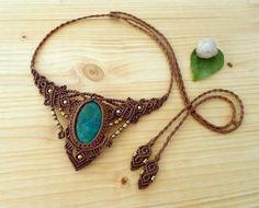 Chrysocolla macrame necklace macrame jewelry hippie