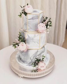 on cakesgalleria 3 Tier Hexagon Marble Cake with well crafted geometry design prettified with captivating rose flowers Credit Wedding Cake Stands, Elegant Wedding Cakes, Elegant Cakes, Beautiful Wedding Cakes, Wedding Cake Designs, Beautiful Cakes, Unique Weddings, Cake Wedding, Indian Weddings
