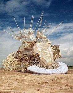 "Theo Jansen | Strandbeest | Dutch artist Theo Jansen's ""Strandbeest"" kinectic sculptures that harness wind power to move autonomously. | www.strandbeest.com"