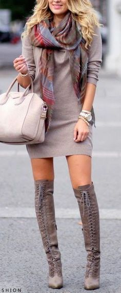 what to wear with over the knee boots : bag + dress + scarf