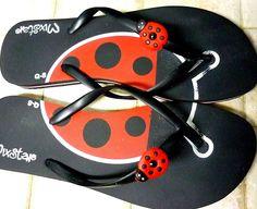 Ladybug flip flops!More Pins Like This At FOSTERGINGER @ Pinterest